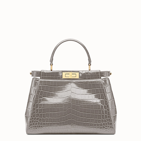FENDI PEEKABOO REGULAR - Grey crocodile leather handbag. - view 1 small thumbnail