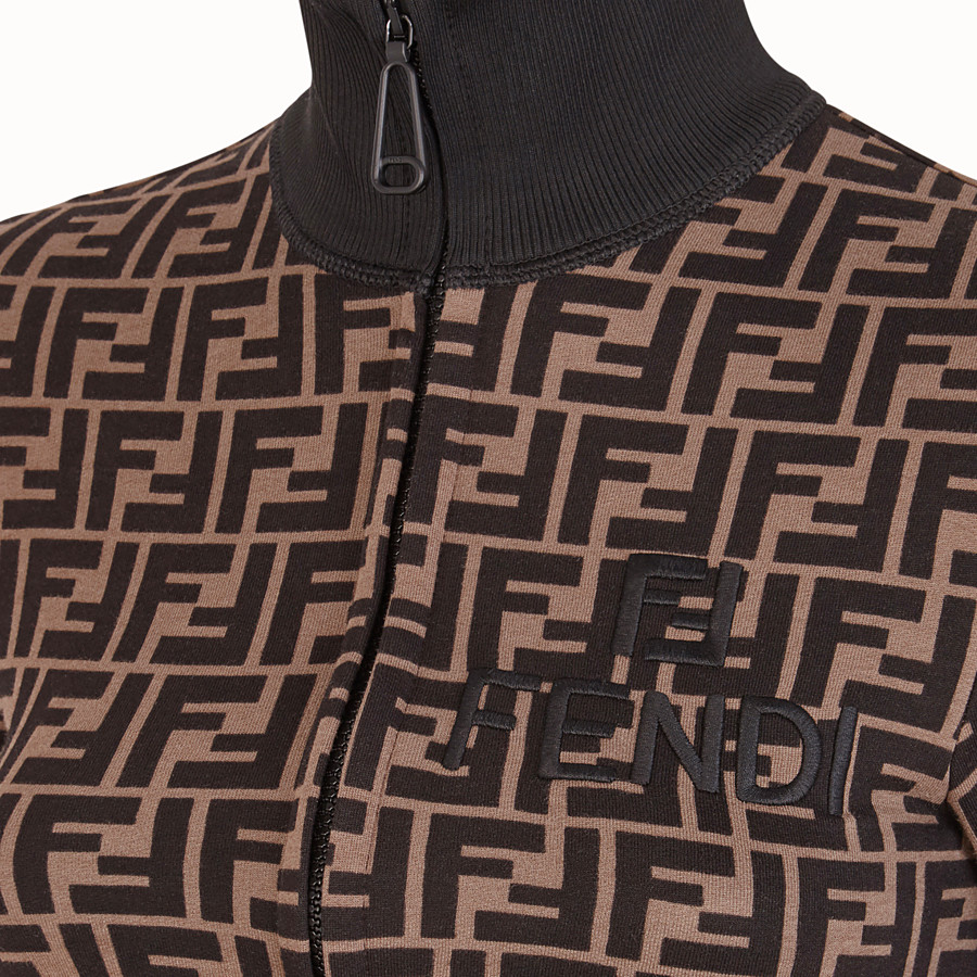 FENDI SWEATSHIRT - Brown cotton jersey sweatshirt - view 3 detail