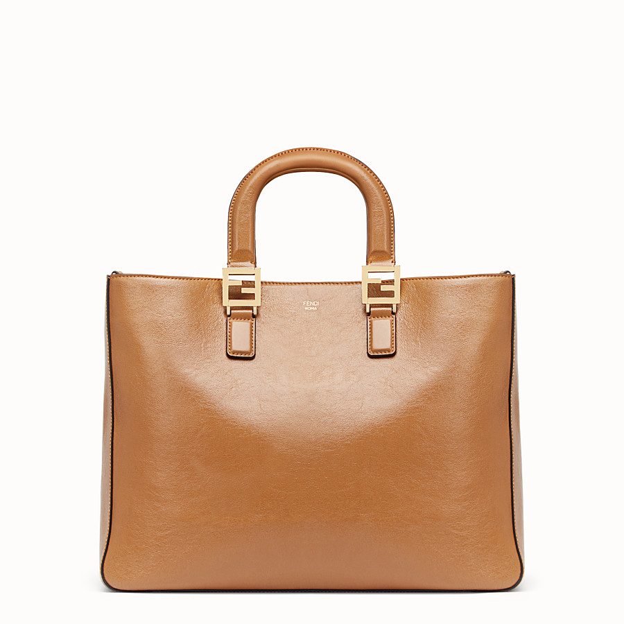 FENDI FF TOTE MEDIUM - Brown leather bag - view 1 detail