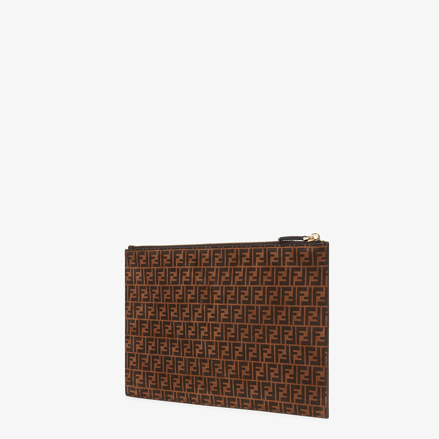 FENDI FLAT POUCH MEDIUM - Brown leather pouch - view 2 detail