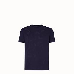 FENDI T-SHIRT - Blue cotton jersey T-shirt - view 1 thumbnail