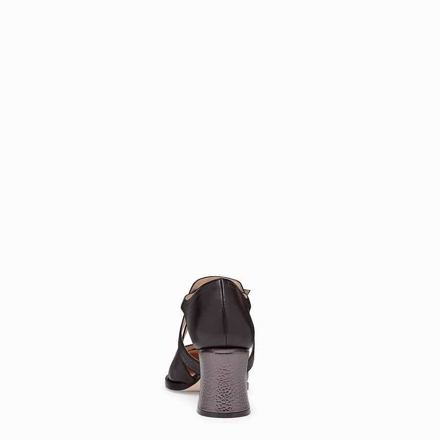FENDI SANDALS - Black leather court shoes - view 3 detail