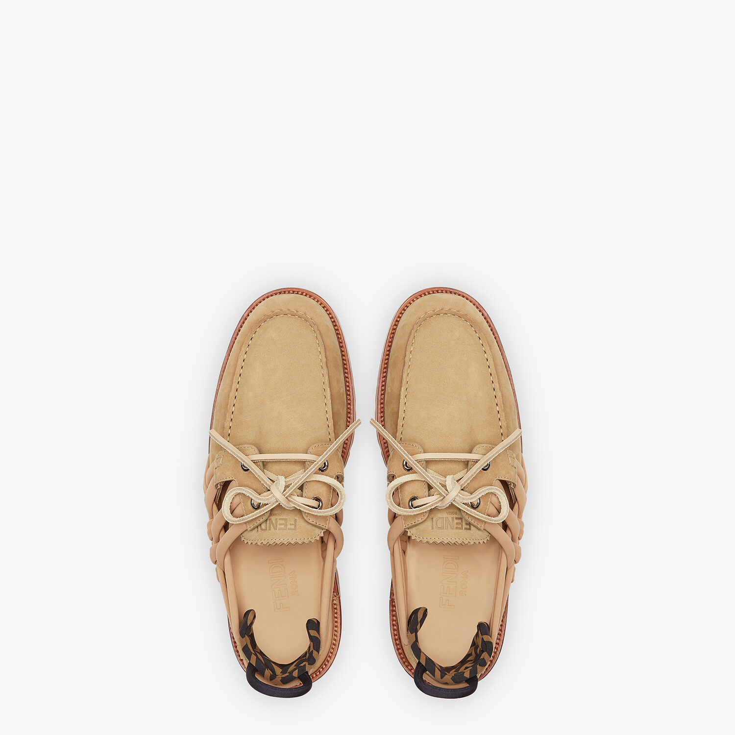 FENDI LOAFERS - Beige nubuck leather loafers - view 4 detail