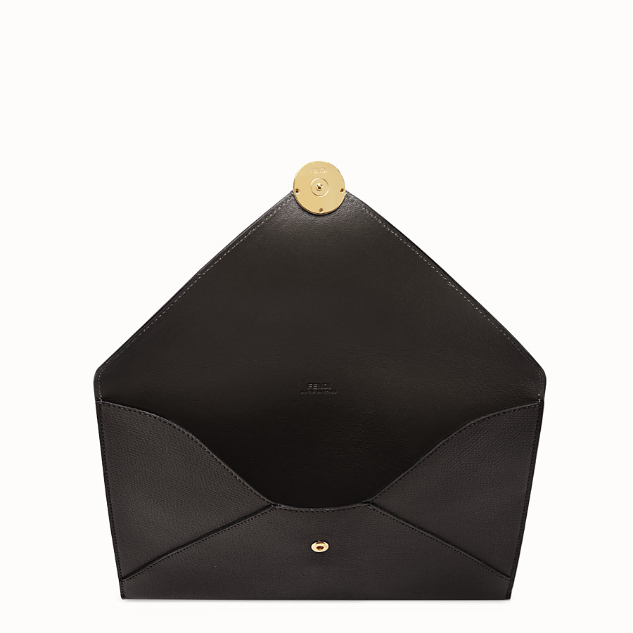FENDI FLAT POUCH - Black leather pouch - view 3 detail