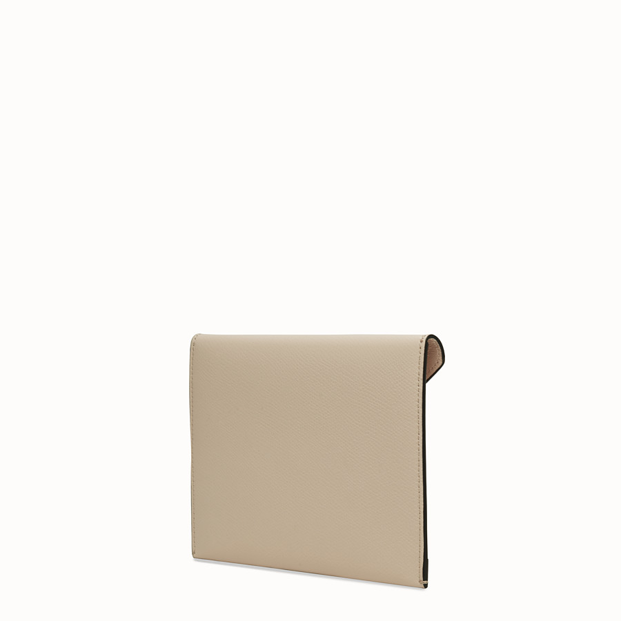 FENDI MEDIUM FLAT POUCH - Beige leather pouch - view 2 detail