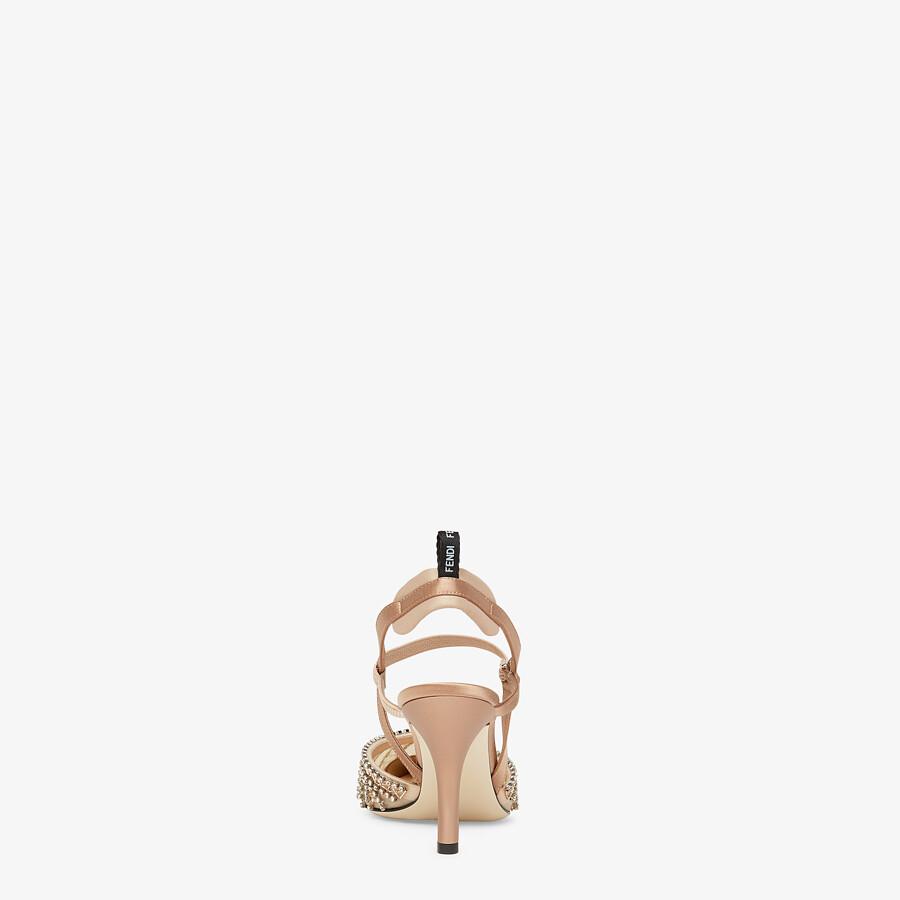 FENDI COLIBRÌ LITE - High-heeled slingbacks in pink micromesh with rhinestone embroidery - view 3 detail