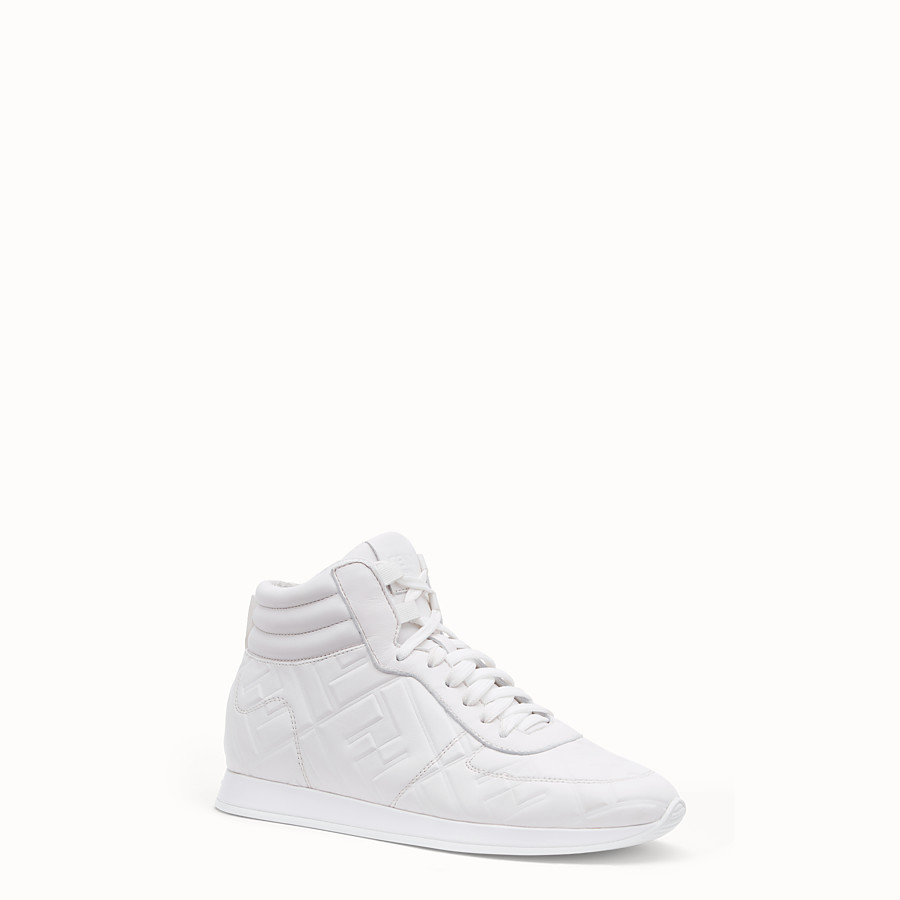 FENDI SNEAKERS - White nappa leather high-tops - view 2 detail