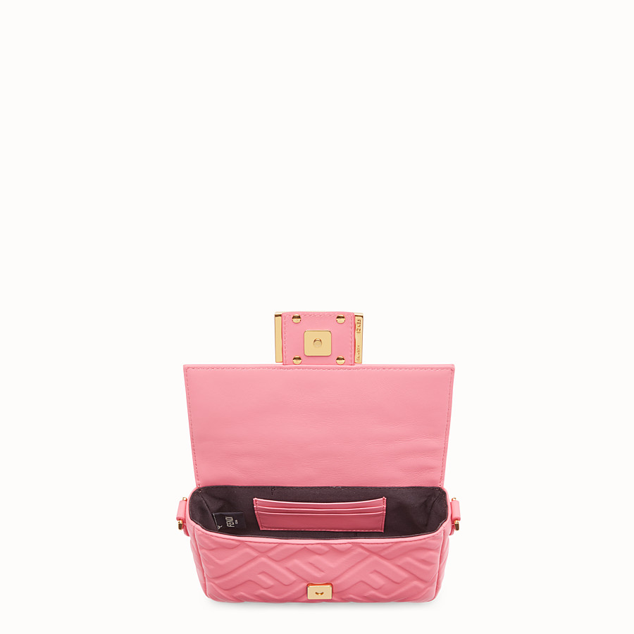FENDI MINI BAGUETTE - Pink leather bag - view 4 detail