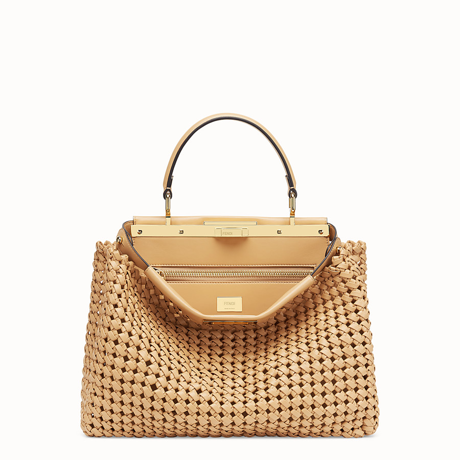 FENDI PEEKABOO ICONIC MEDIUM - Beige leather interlace bag - view 1 detail