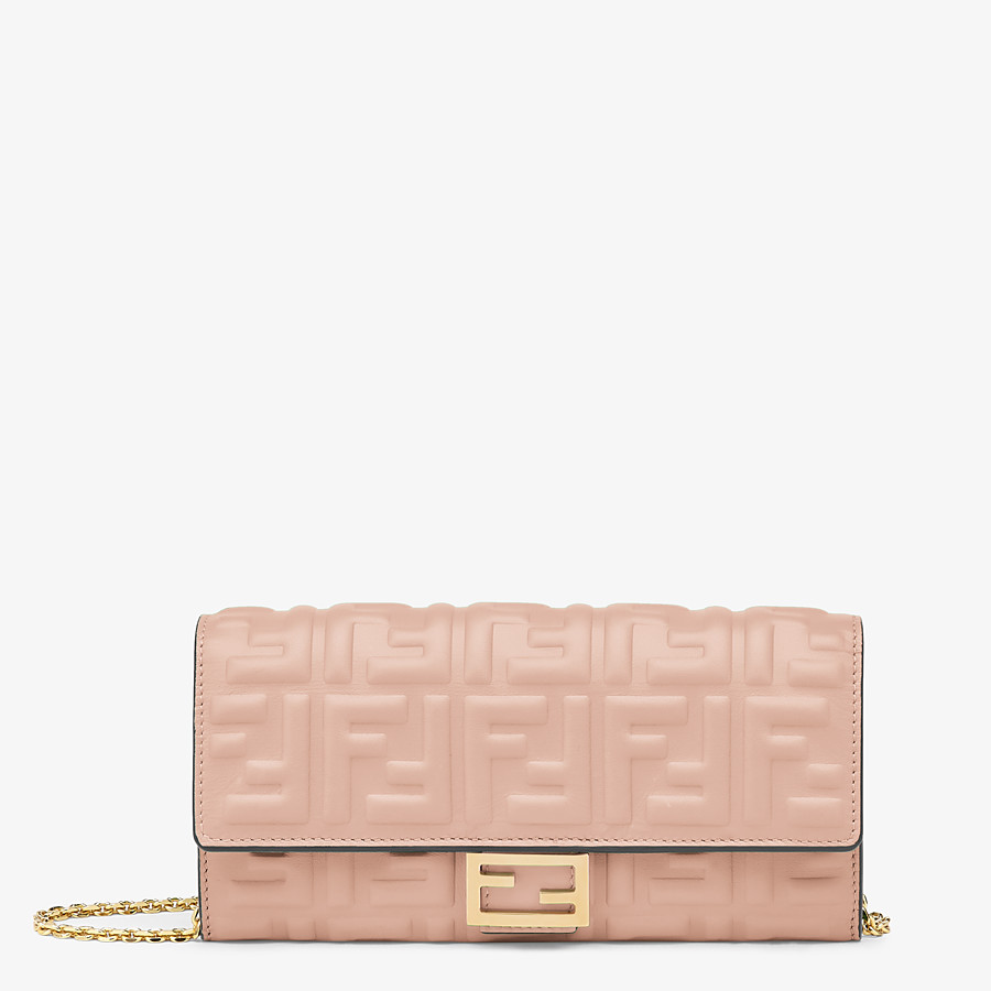 FENDI CONTINENTAL WITH CHAIN - Pink nappa leather wallet - view 1 detail