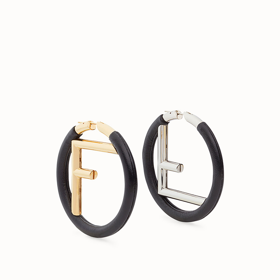 FENDI F IS FENDI EARRINGS - Black leather earrings - view 1 detail
