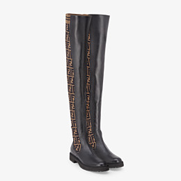 FENDI BOOTS - Black leather thigh-high boots - view 4 thumbnail