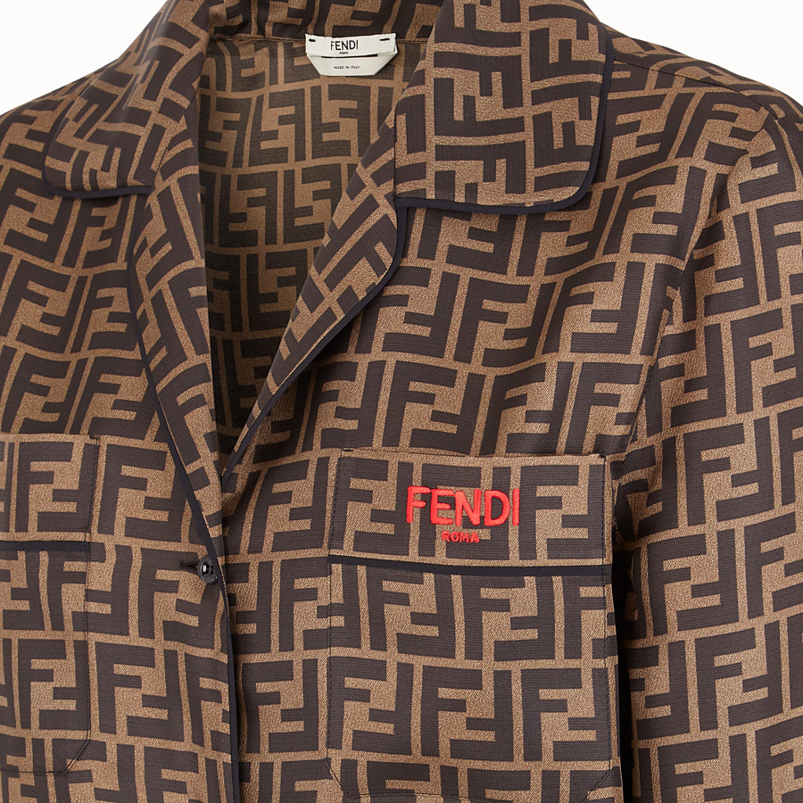 FENDI SHIRT - Brown twill shirt - view 3 detail
