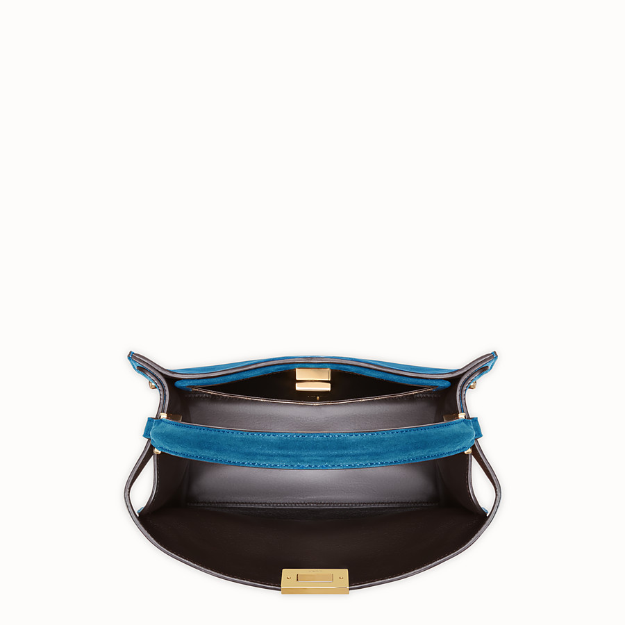 FENDI PEEKABOO X-LITE MEDIUM - Blue suede bag - view 5 detail