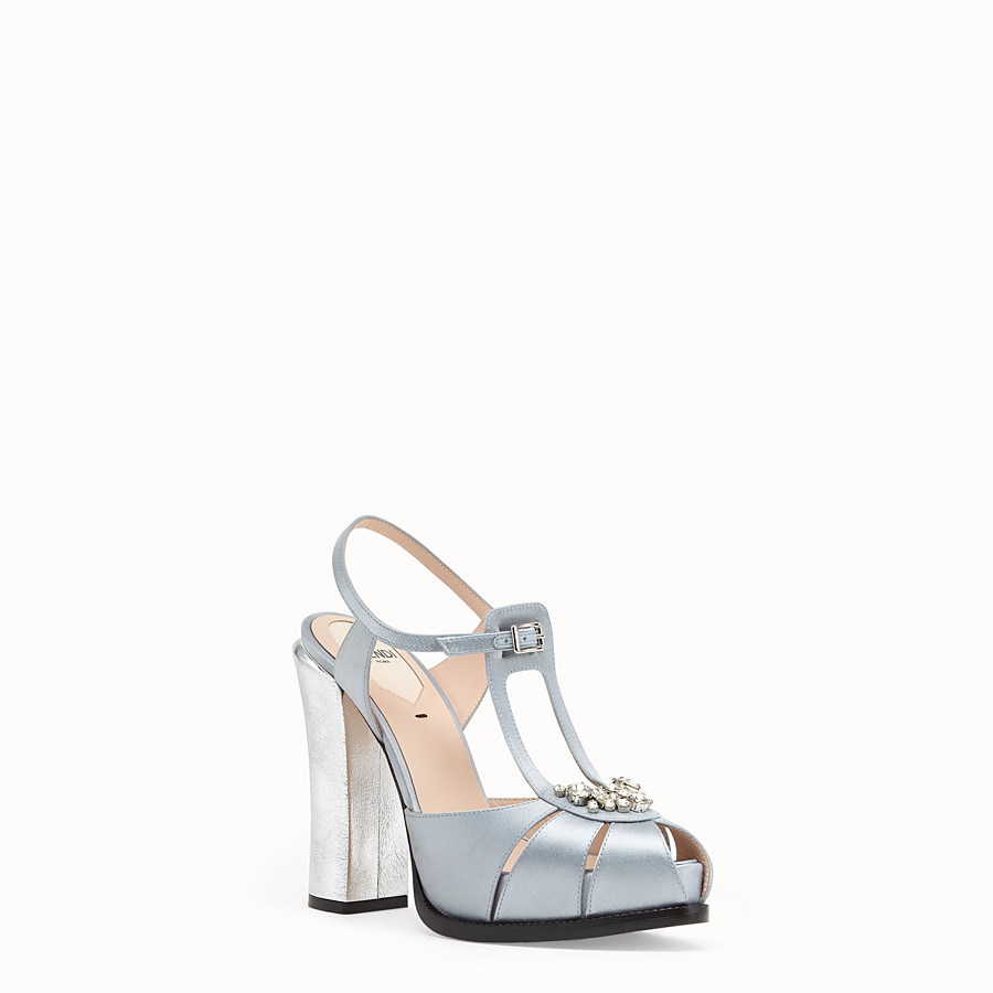 FENDI SANDALS - Grey satin sandals - view 2 detail
