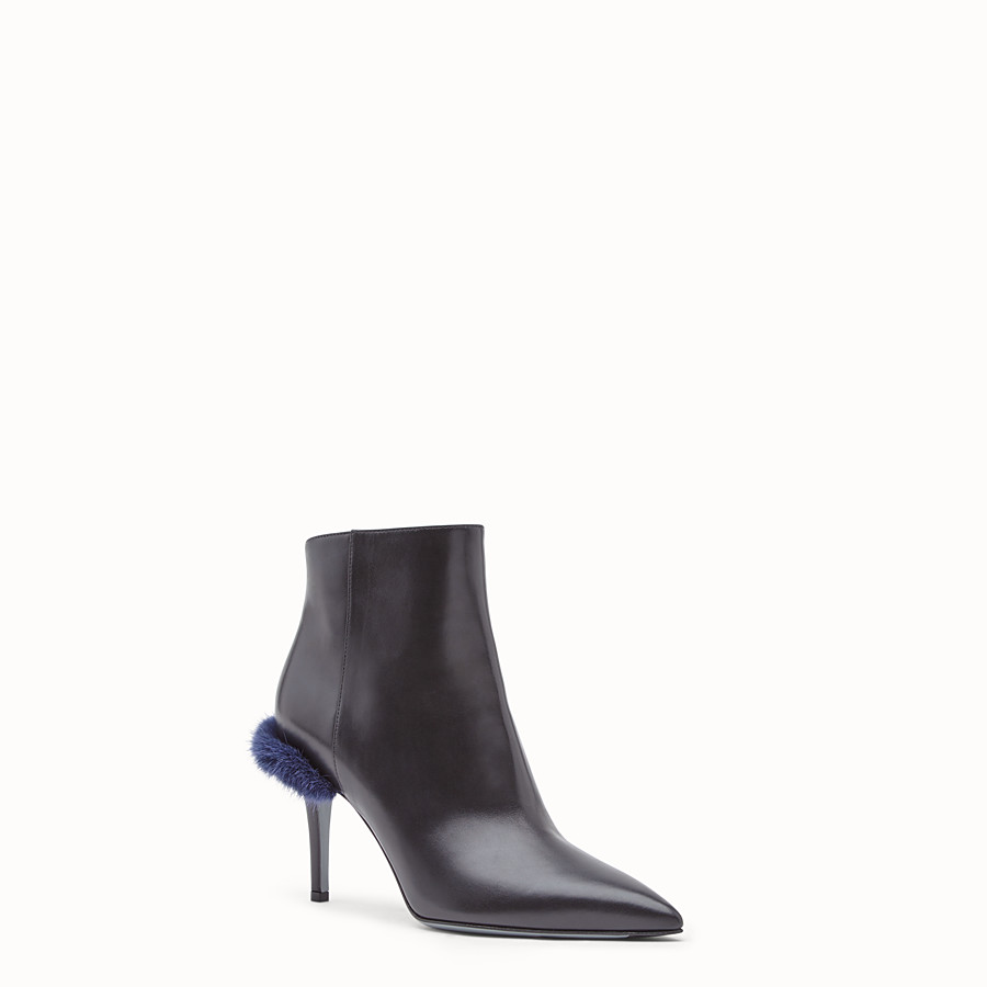 FENDI BOOTS - Black leather ankle boots - view 2 detail