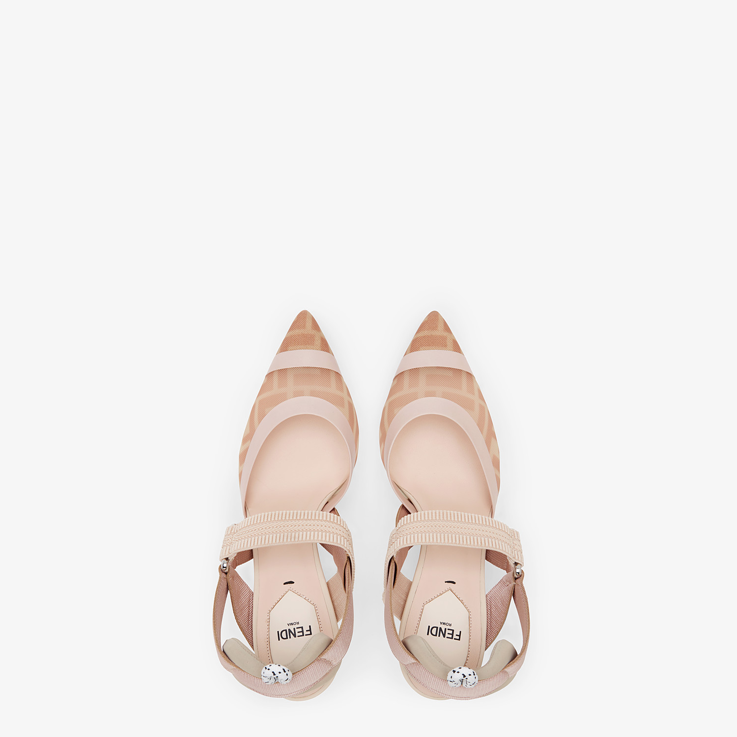 FENDI SLINGBACKS - Colibrì in pink mesh and nude leather - view 4 detail
