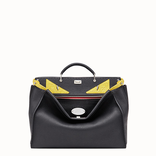 FENDI PEEKABOO REGULAR - Black Roman leather bag with exotic leather details - view 1 small thumbnail
