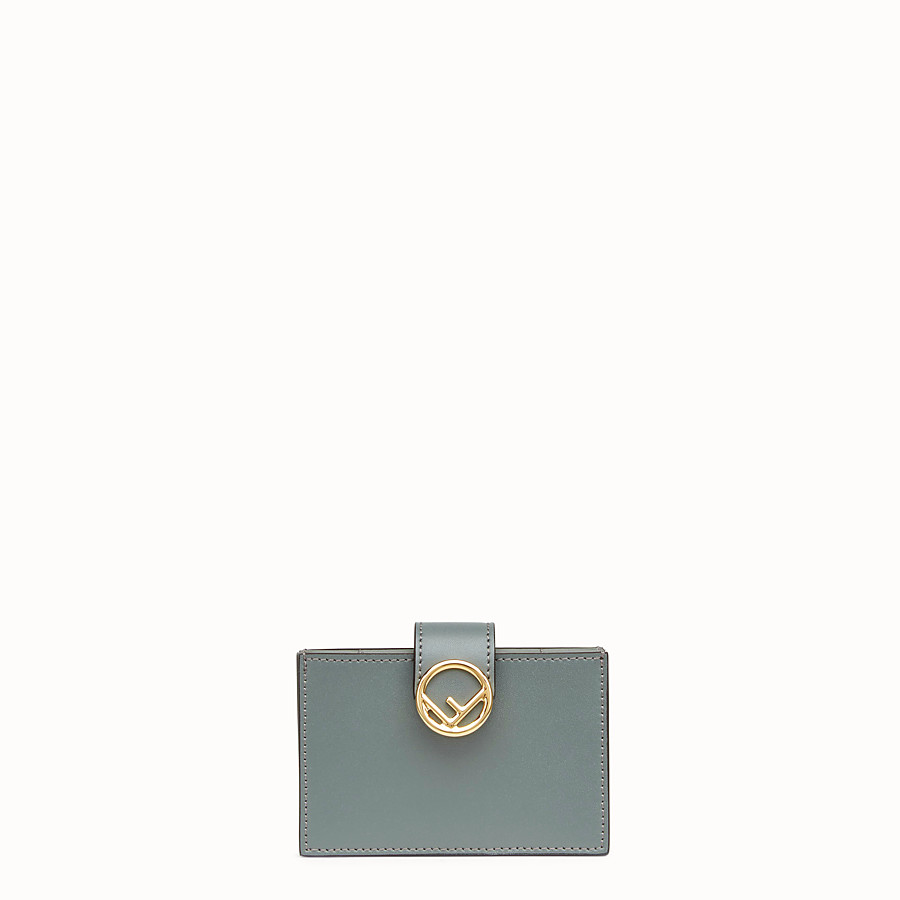 FENDI CARD HOLDER - Green leather gusseted card holder - view 1 detail