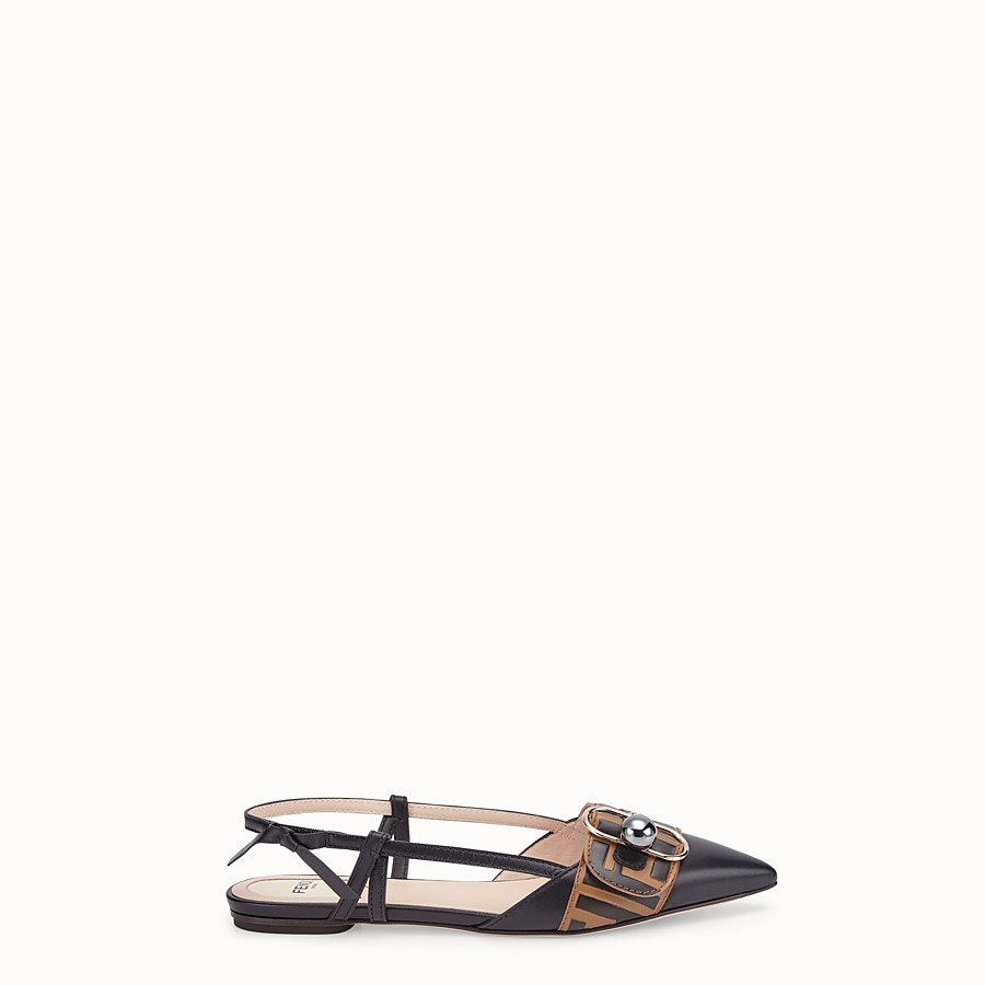 FENDI SLINGBACK - Black leather slingbacks - view 1 detail