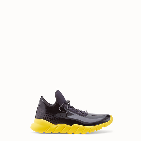 FENDI SNEAKERS - High-tops in black patent leather and fabric - view 1 small thumbnail