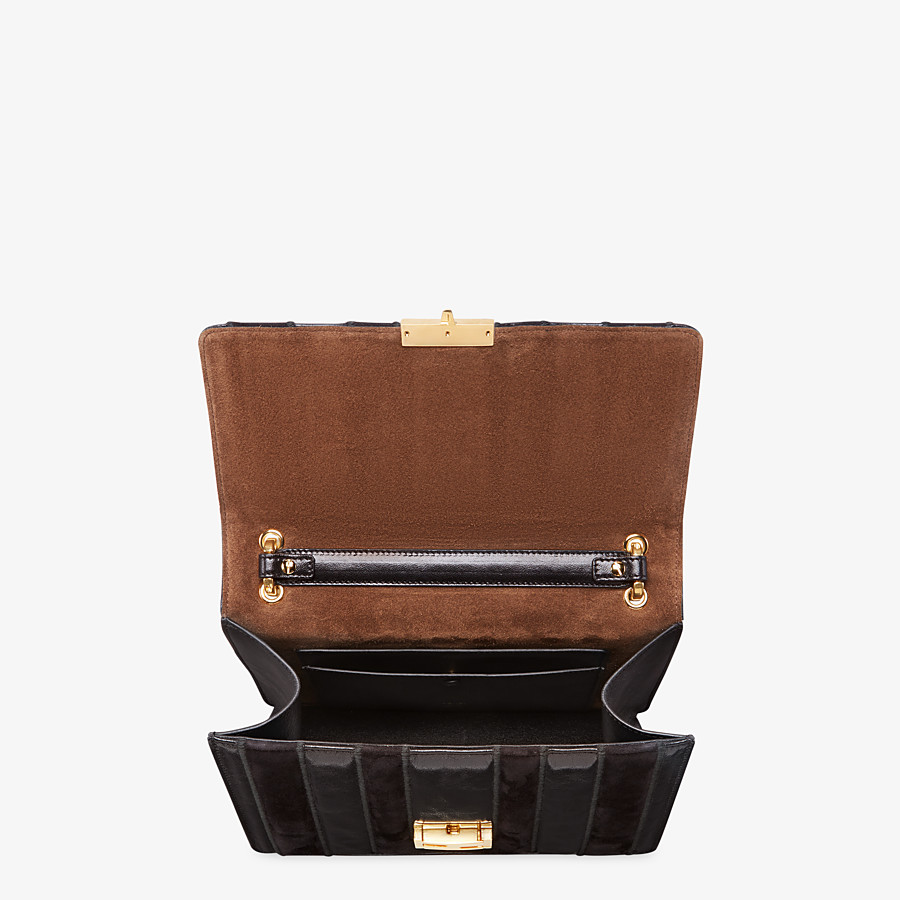 FENDI KAN U - Black leather and suede bag - view 5 detail