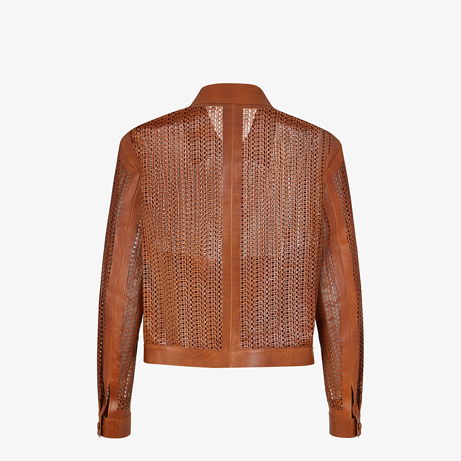 FENDI JACKET - Brown leather blouson - view 2 detail