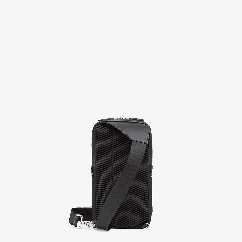 FENDI BELT BAG - Fabric and black leather satchel - view 3 detail