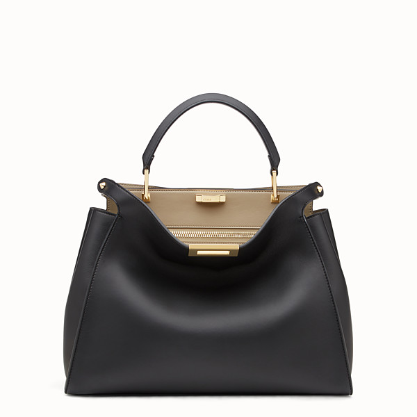 FENDI PEEKABOO ICONIC ESSENTIAL - Black and beige leather handbag - view 1 small thumbnail