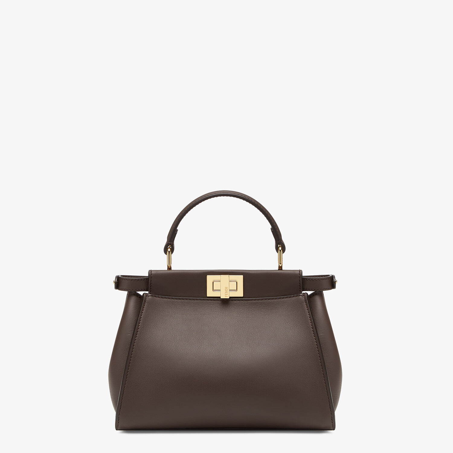 FENDI PEEKABOO ICONIC MINI -  Brown leather bag - view 3 detail