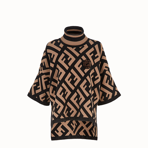 FENDI SWEATER - Multicolor wool poncho - view 1 small thumbnail