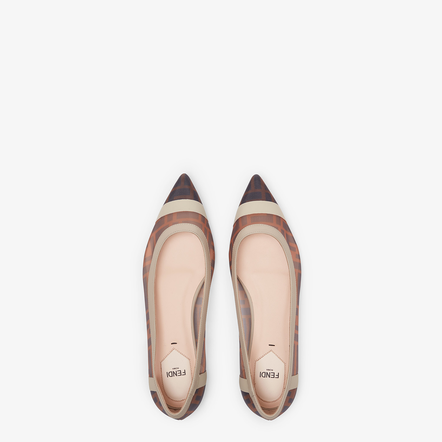 FENDI BALLERINAS - Flat in mesh and white leather - view 4 detail