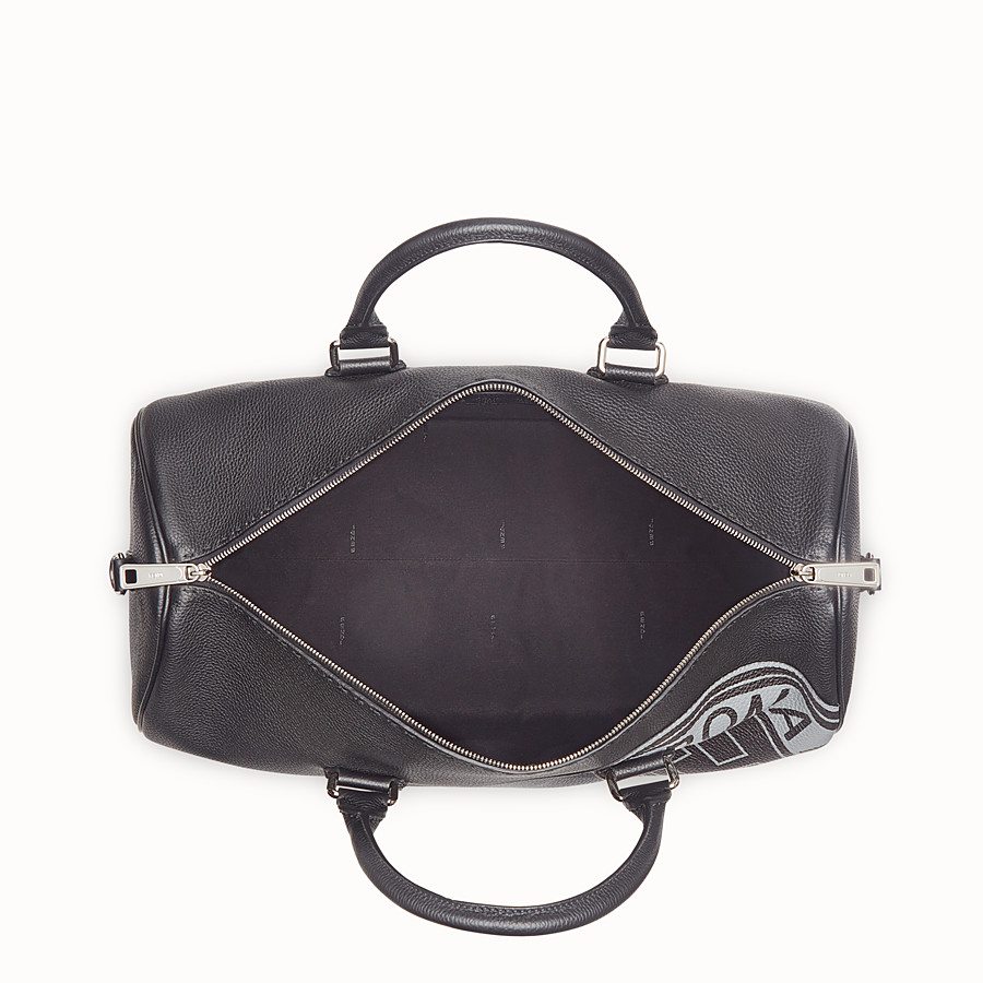 FENDI DUFFLE BAG - Black leather holdall bag - view 4 detail