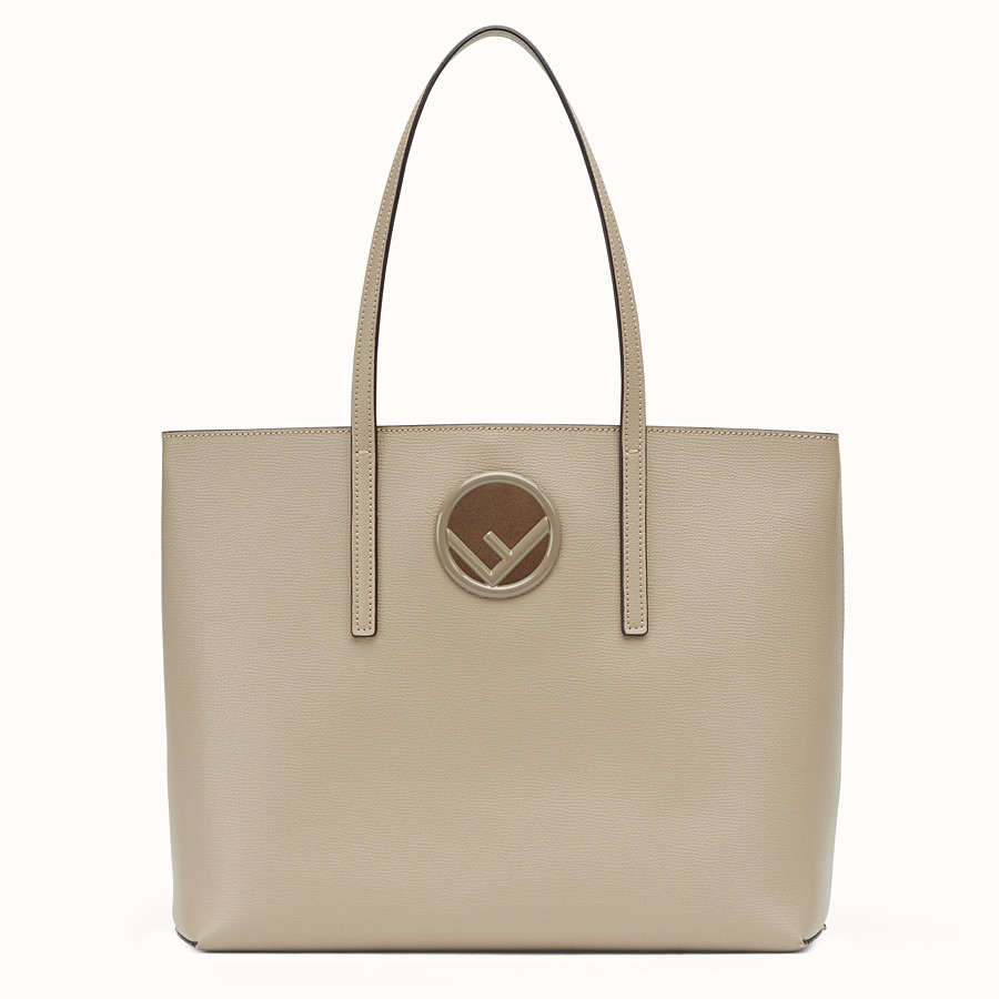 FENDI SHOPPING LOGO - Beige leather shopper bag - view 1 detail