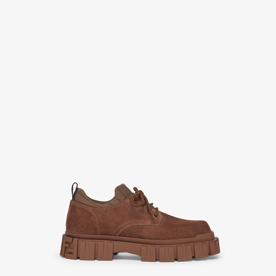 FENDI LACE-UP - Brown suede lace-ups - view 1 detail