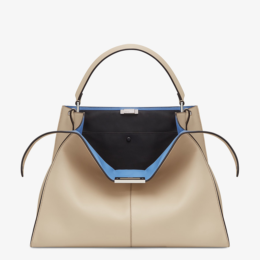 FENDI PEEKABOO X-LITE LARGE - Beige leather bag - view 1 detail