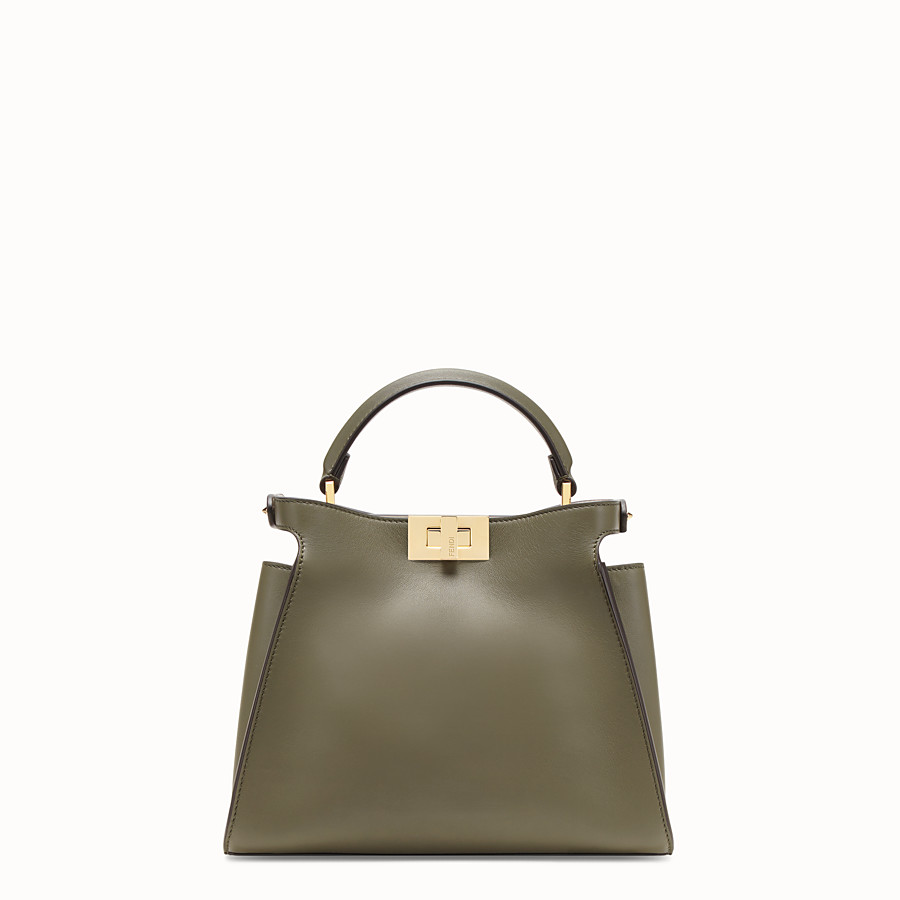 FENDI PEEKABOO ESSENTIALLY - Green leather bag - view 3 detail