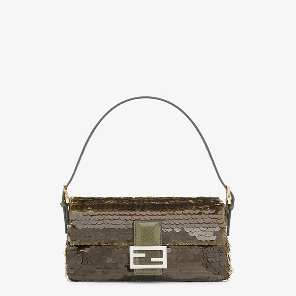 Green satin bag with sequins
