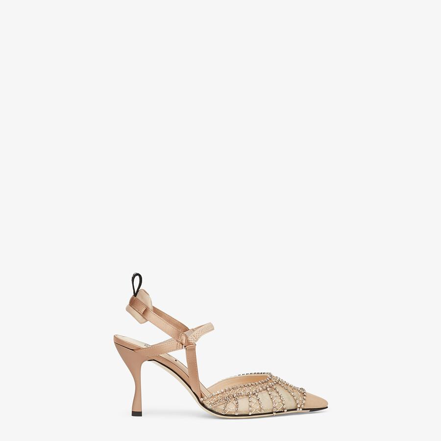 FENDI COLIBRÌ LITE - High-heeled slingbacks in pink micromesh with rhinestone embroidery - view 1 detail