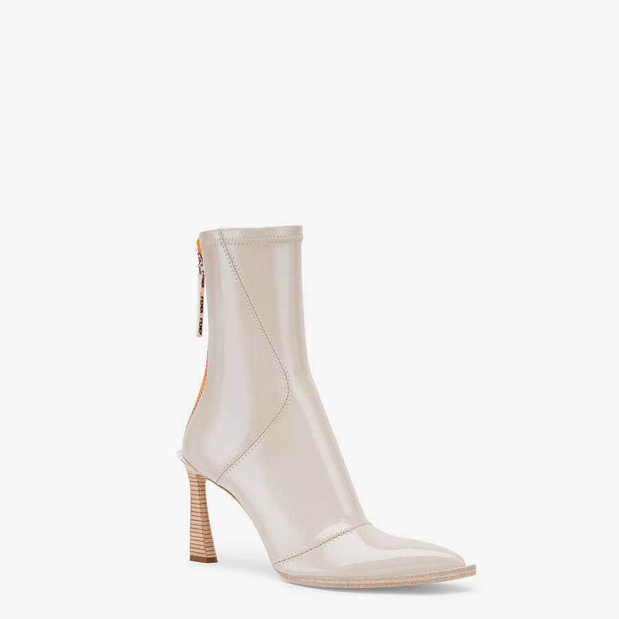 FENDI ANKLE BOOTS - Glossy gray neoprene ankle boots - view 2 detail