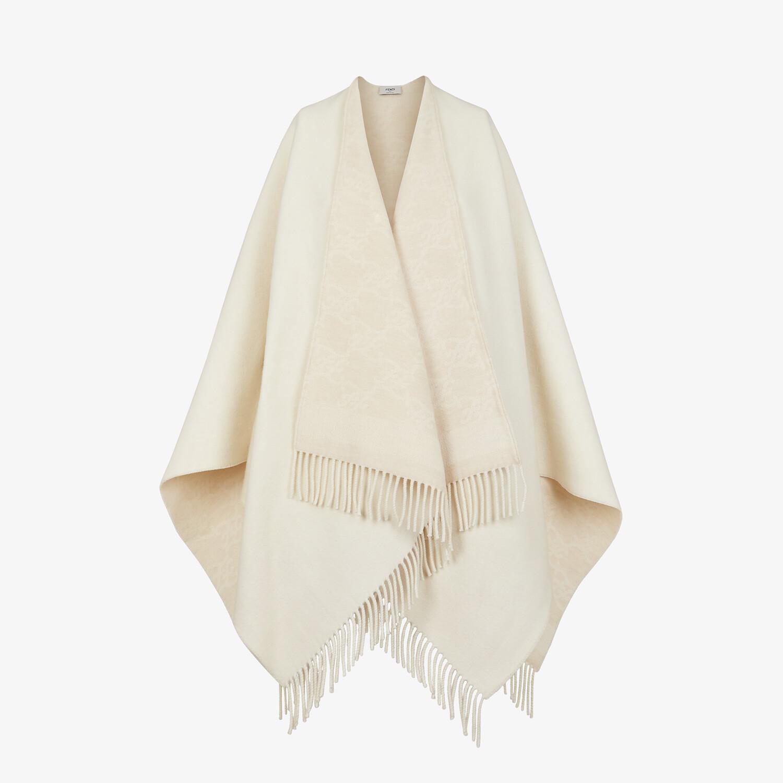 FENDI PONCHO KARL - Poncho in lana e cachemire bianco - vista 1 dettaglio