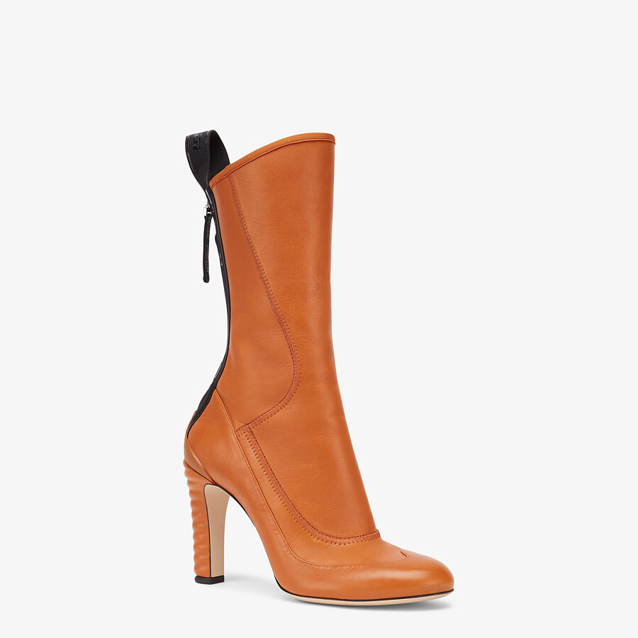 FENDI ANKLE BOOTS - Brown leather Promenade Booties - view 2 detail
