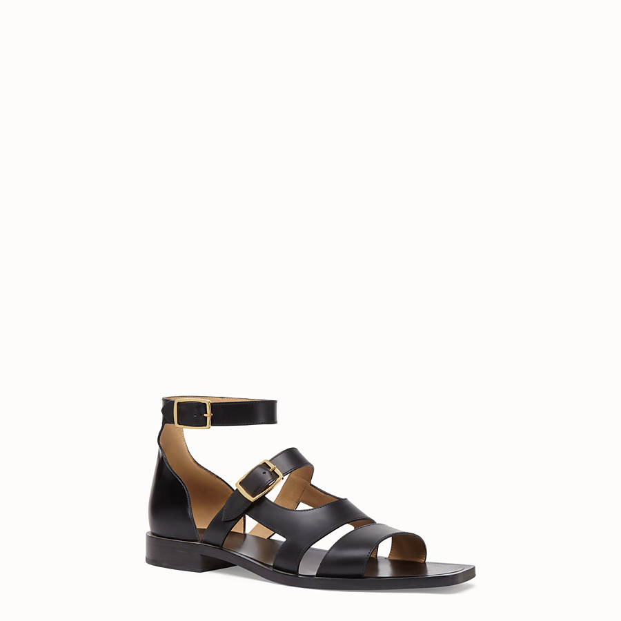 FENDI SANDALS - Black leather sandals - view 2 detail