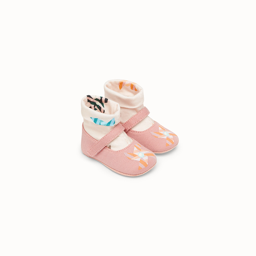 FENDI BABY SHOES - Pink fabric ballerinas - view 1 detail