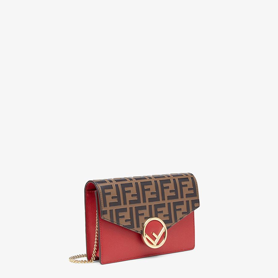 FENDI PORTEMONNAIE MIT TRAGEKETTE - Mini-Tasche aus Leder in Rot - view 2 detail