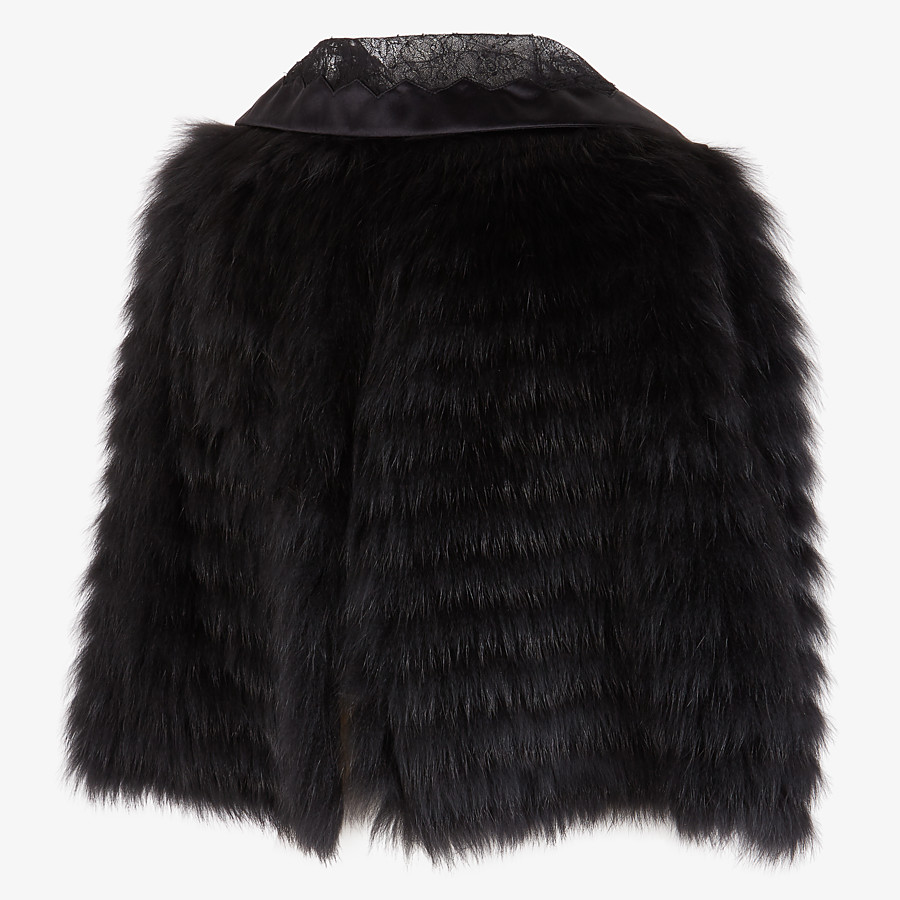 FENDI CAPE - Black fox fur cape - view 3 detail