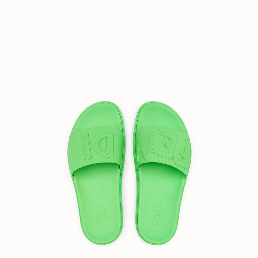 FENDI SLIDES - Fussbetts in green rubber - view 4 detail