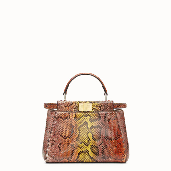 FENDI PEEKABOO ICONIC MINI - Borsa in pitone marrone - vista 1 thumbnail piccola
