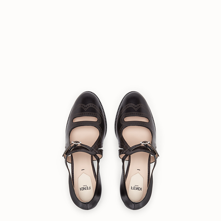 FENDI SANDALS - Black leather court shoes - view 4 detail