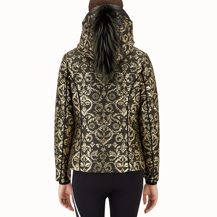 FENDI SKI JACKET - Padded jacket in gold brocade - view 2 detail
